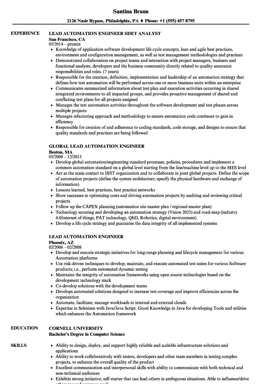 automation test lead sample resume