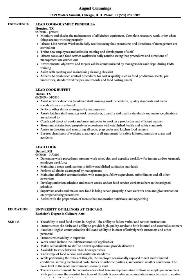 Lead Cook Resume Samples Velvet Jobs