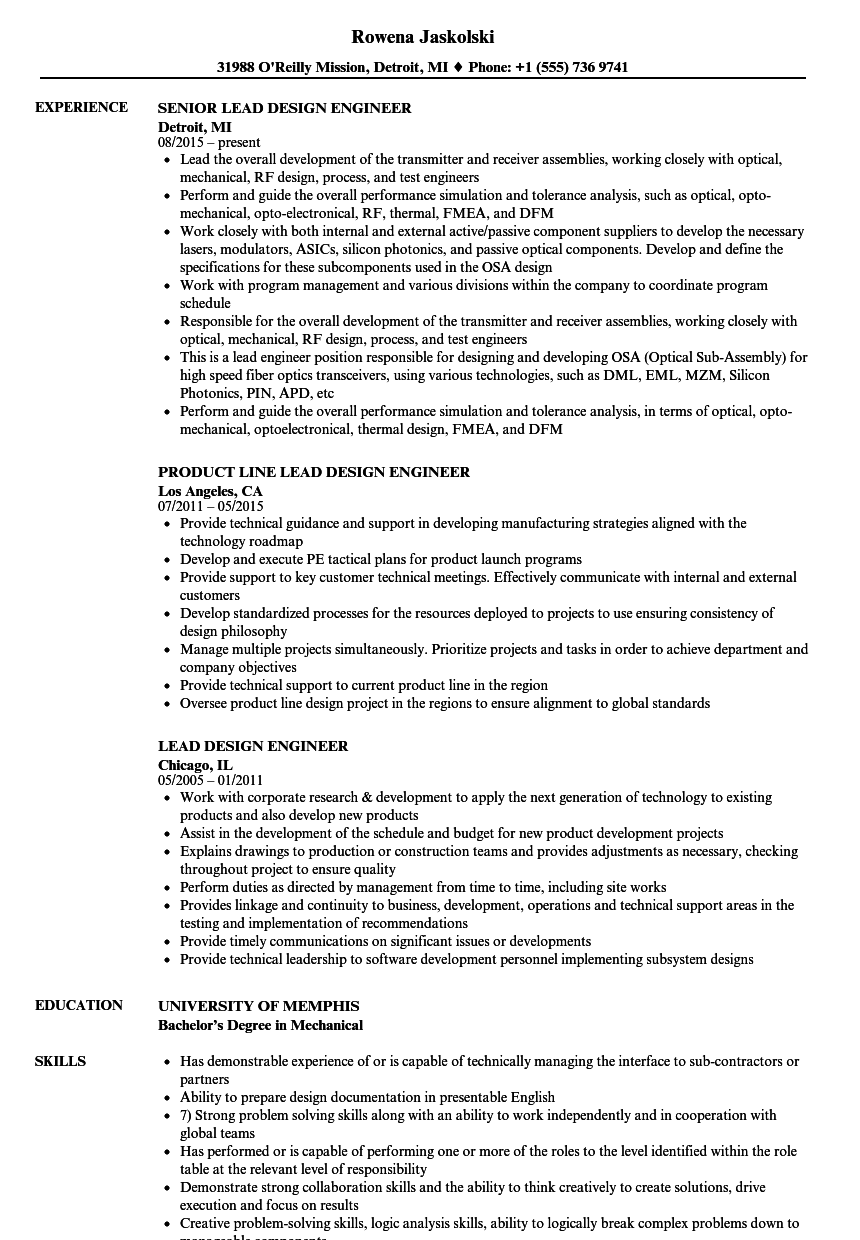 Lead Design Engineer Resume Samples  Velvet Jobs