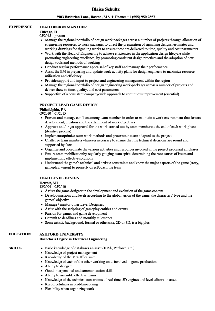Lead Design Resume Samples  Velvet Jobs