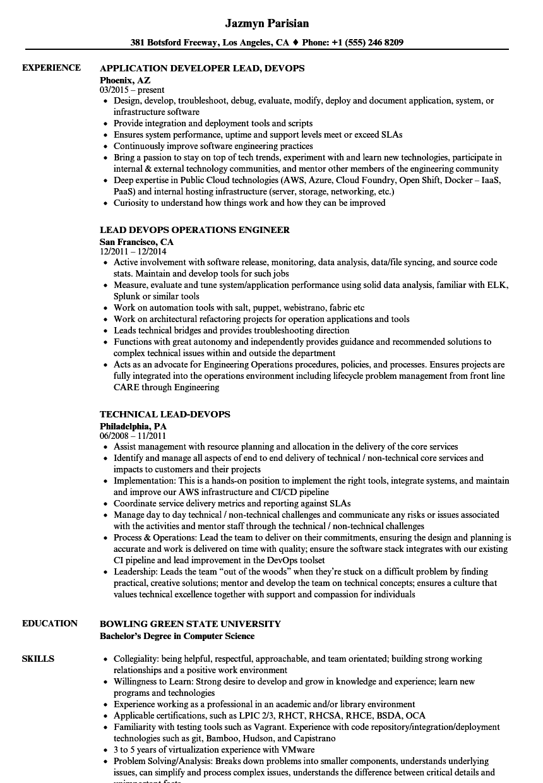 devops build and release sample resumes