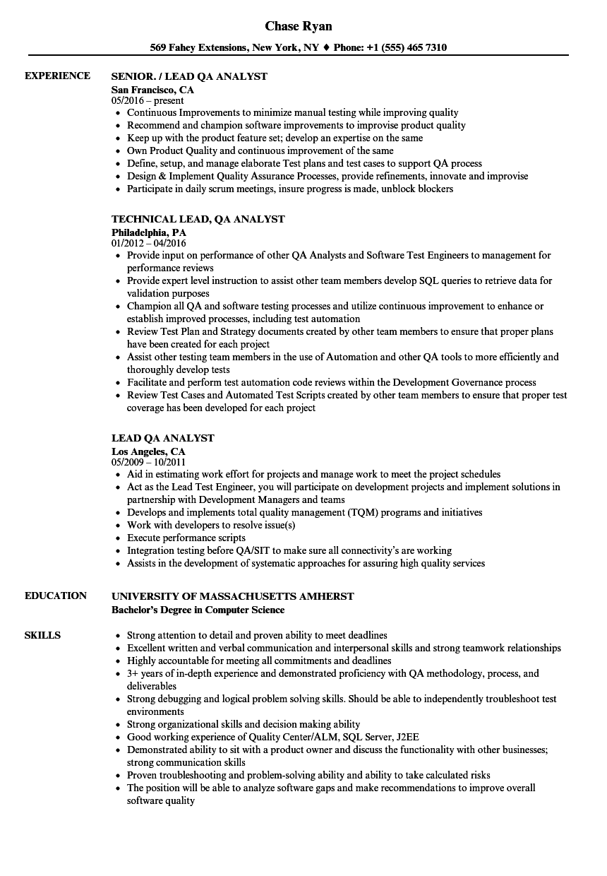 Sample Qa Test Technician Resume