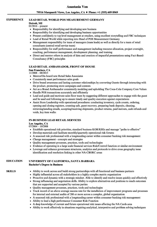 retail team leader resume sample
