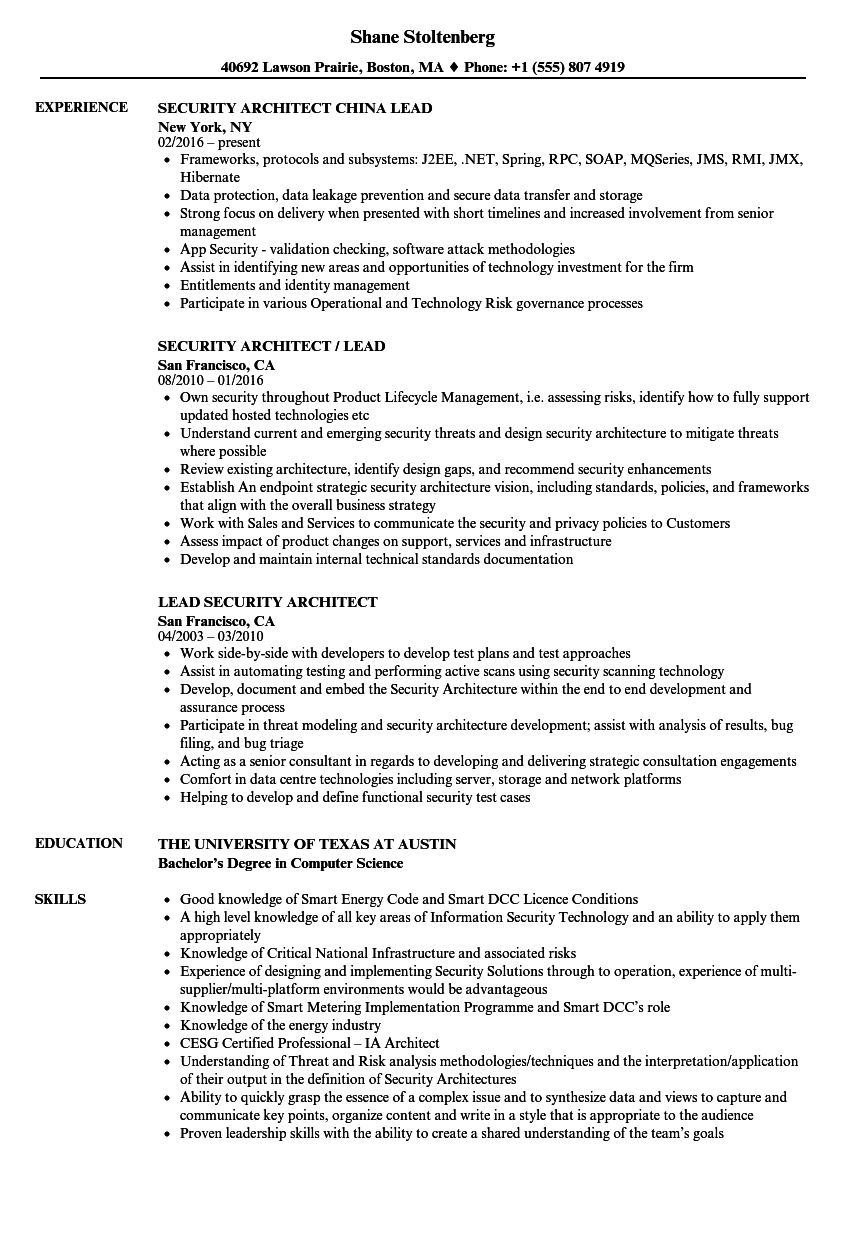 Lead Security Architect Resume Samples  Velvet Jobs