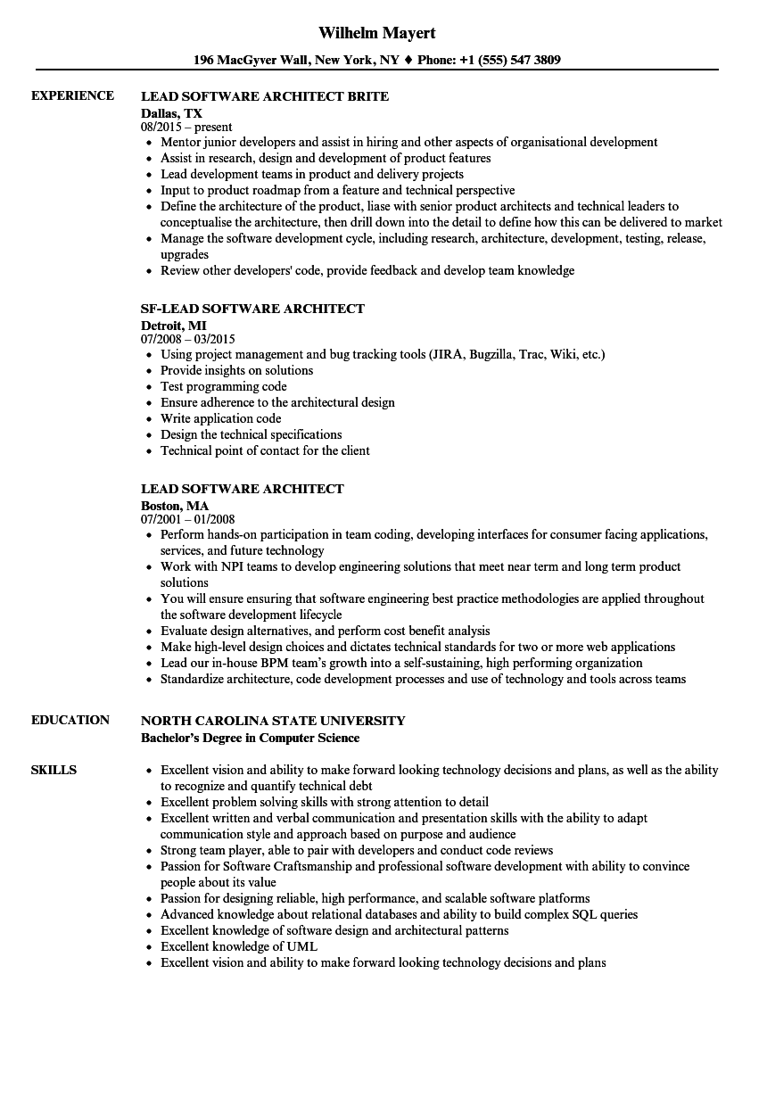 sample resume for principal software engineer