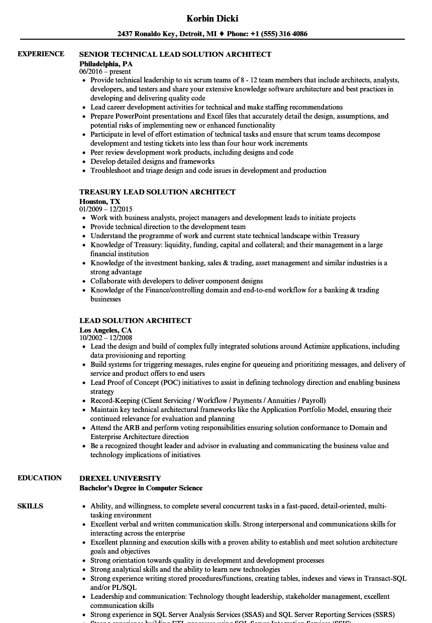 Lead Solution Architect Resume Samples  Velvet Jobs