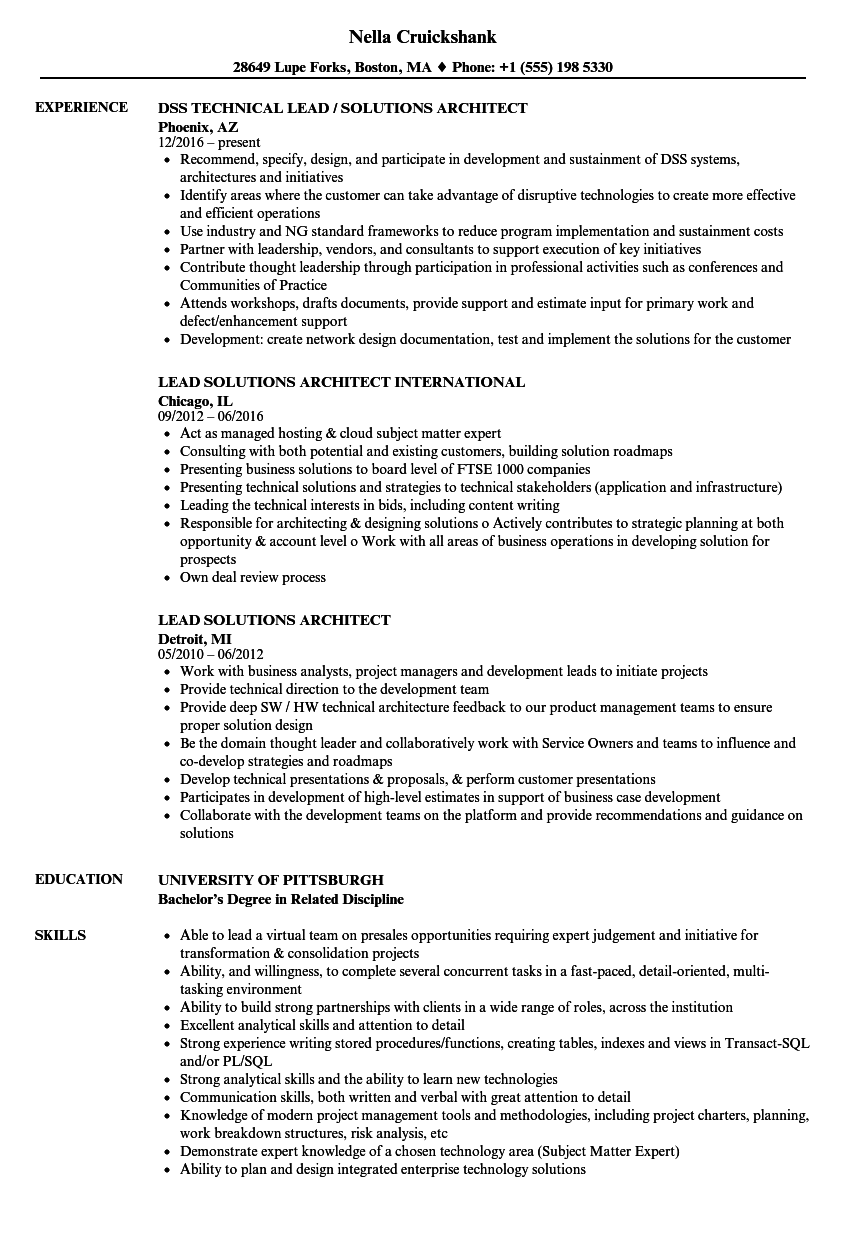Lead Solutions Architect Resume Samples  Velvet Jobs