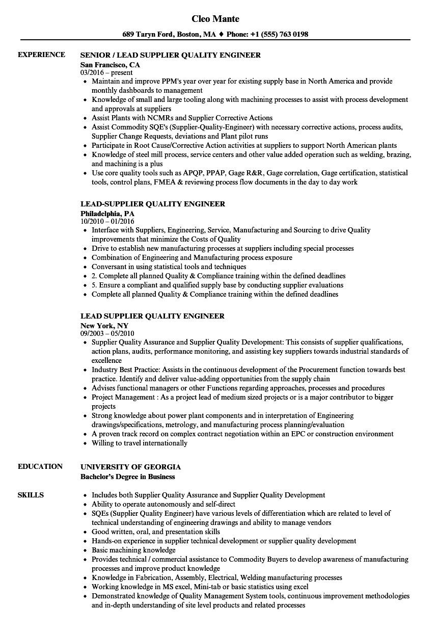 supplier quality sample resume