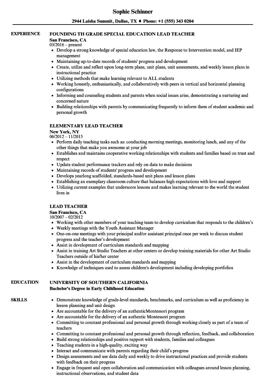 sample resume for preschool lead teacher