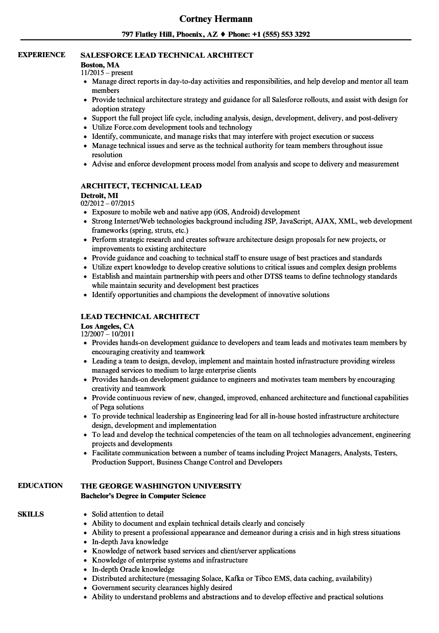 Lead Technical Architect Resume Samples  Velvet Jobs