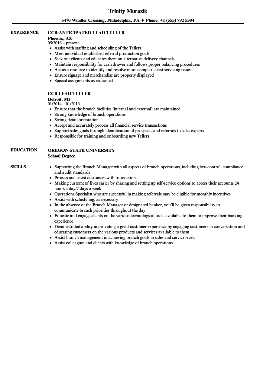 Lead Teller Resume Samples Velvet Jobs