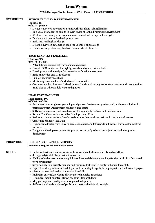 rf test engineer resume sample
