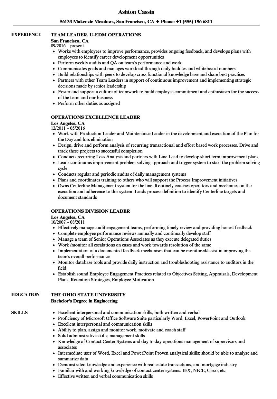 operations team leader resume sample