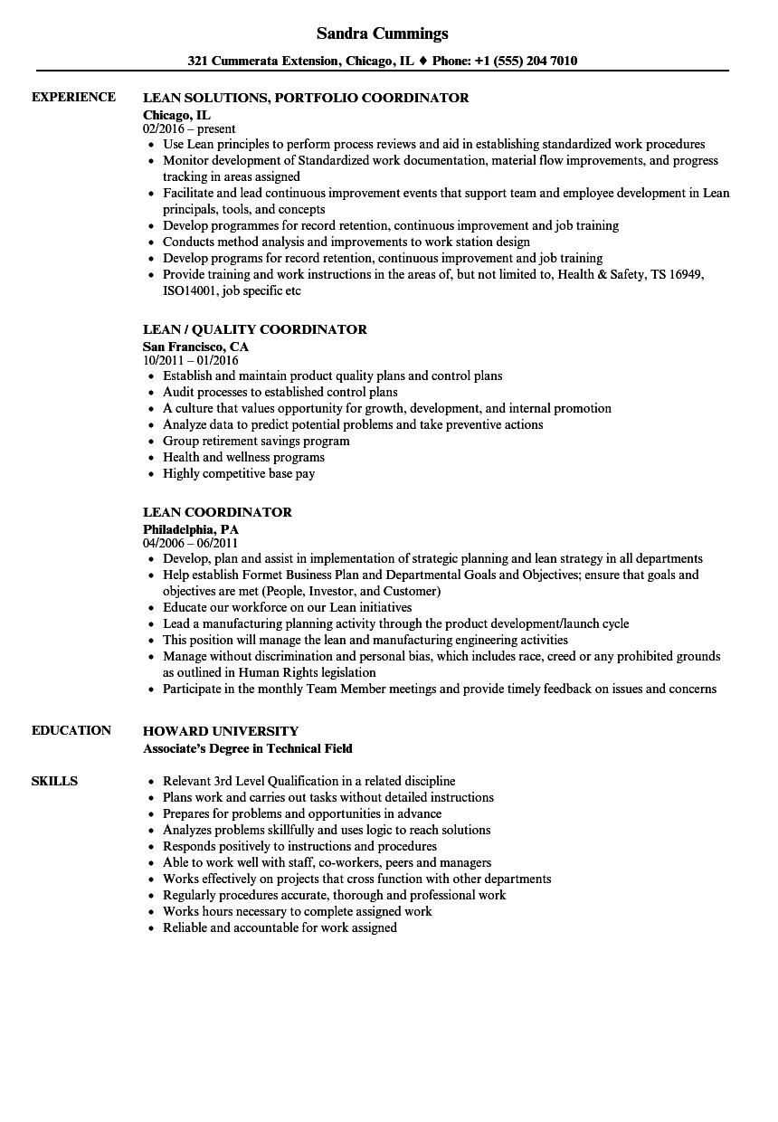 Lean Coordinator Resume Samples Velvet Jobs