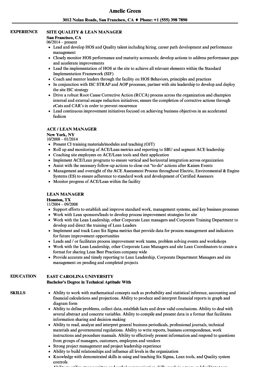 Lean Manager Resume Samples Velvet Jobs