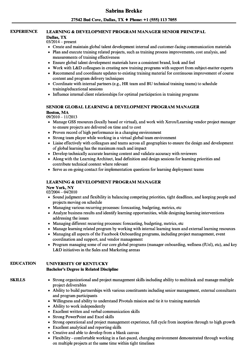Learning & Development Program Manager Resume Samples