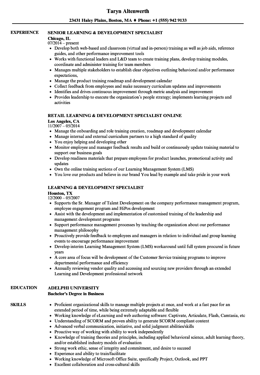 learning specialist resume sample