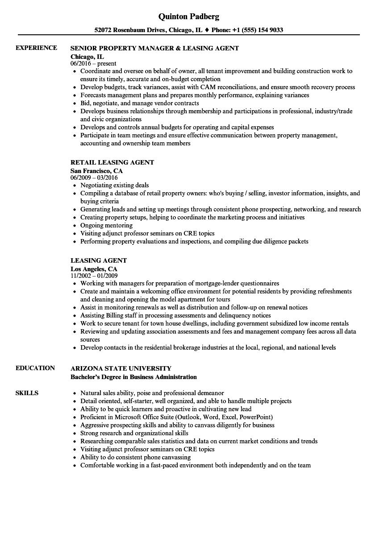 leasing agent job resume sample
