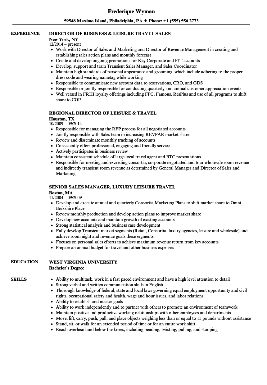Leisure Travel Resume Samples Velvet Jobs