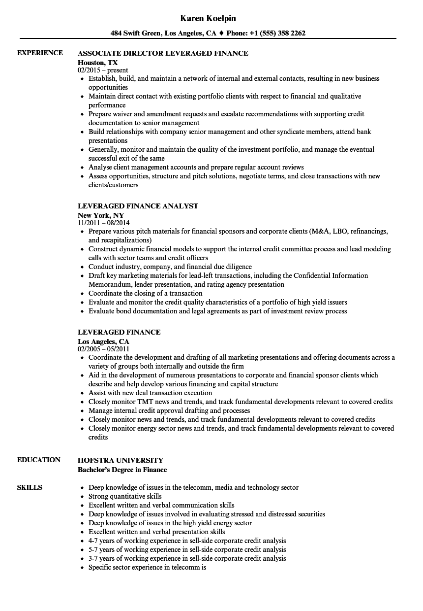 Leveraged Finance Resume Samples  Velvet Jobs