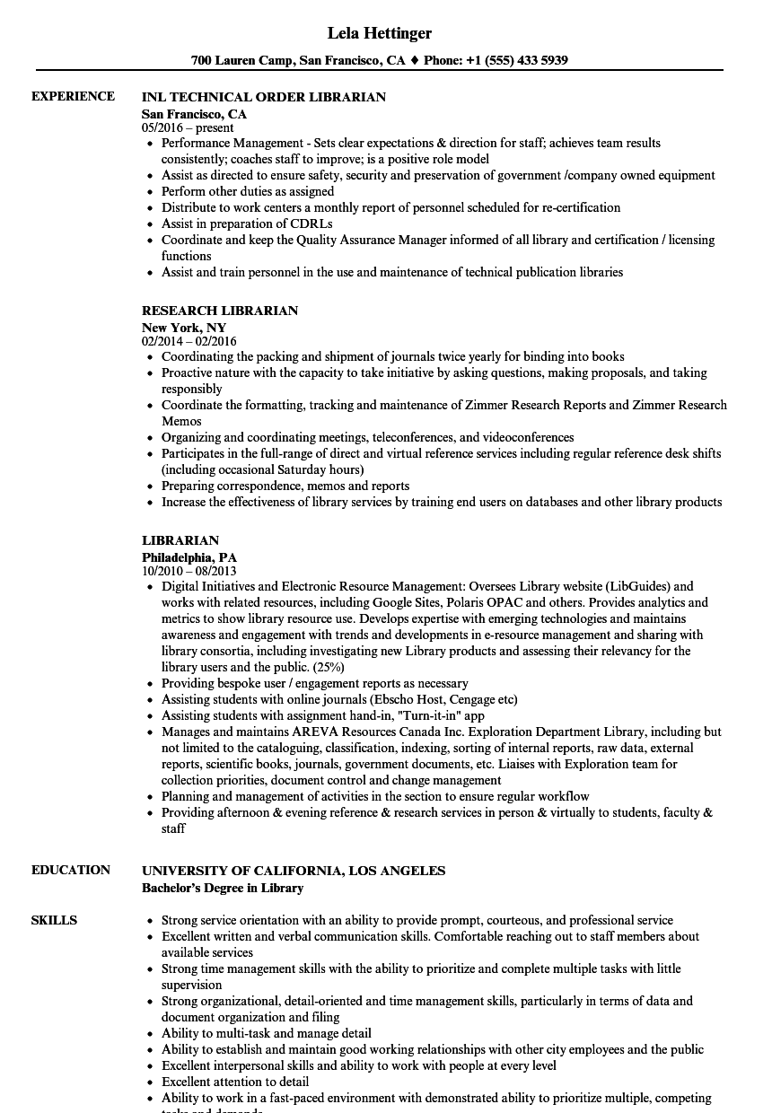Download Librarian Resume Sample As Image File
