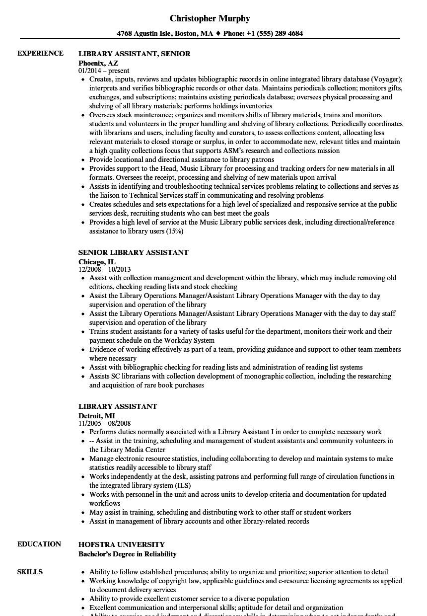sample resume for library customer services associate
