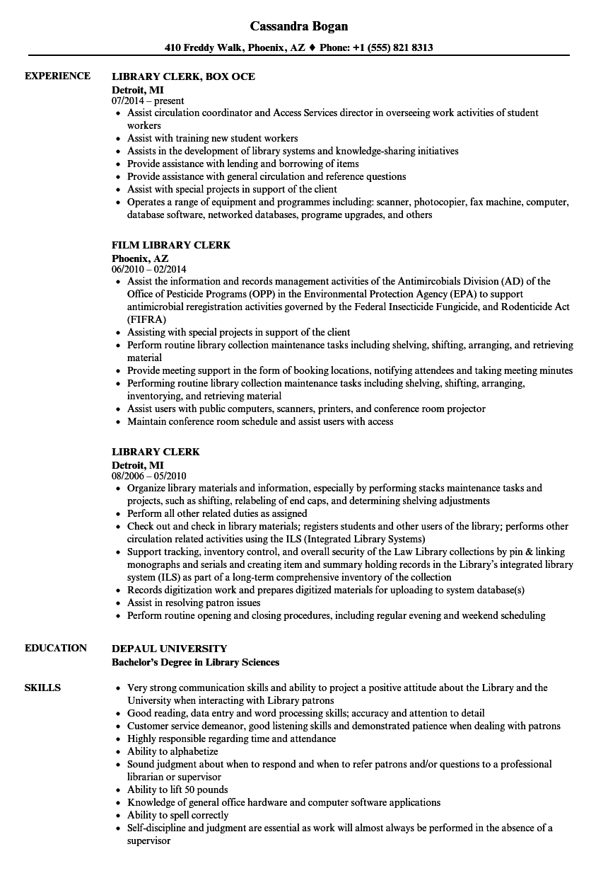 library resume objective examples
