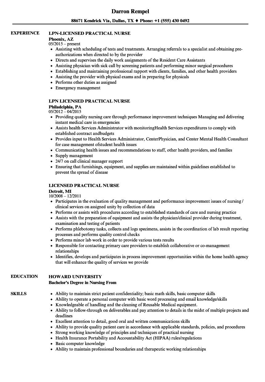 Licensed Practical Nurse Resume Samples  Velvet Jobs