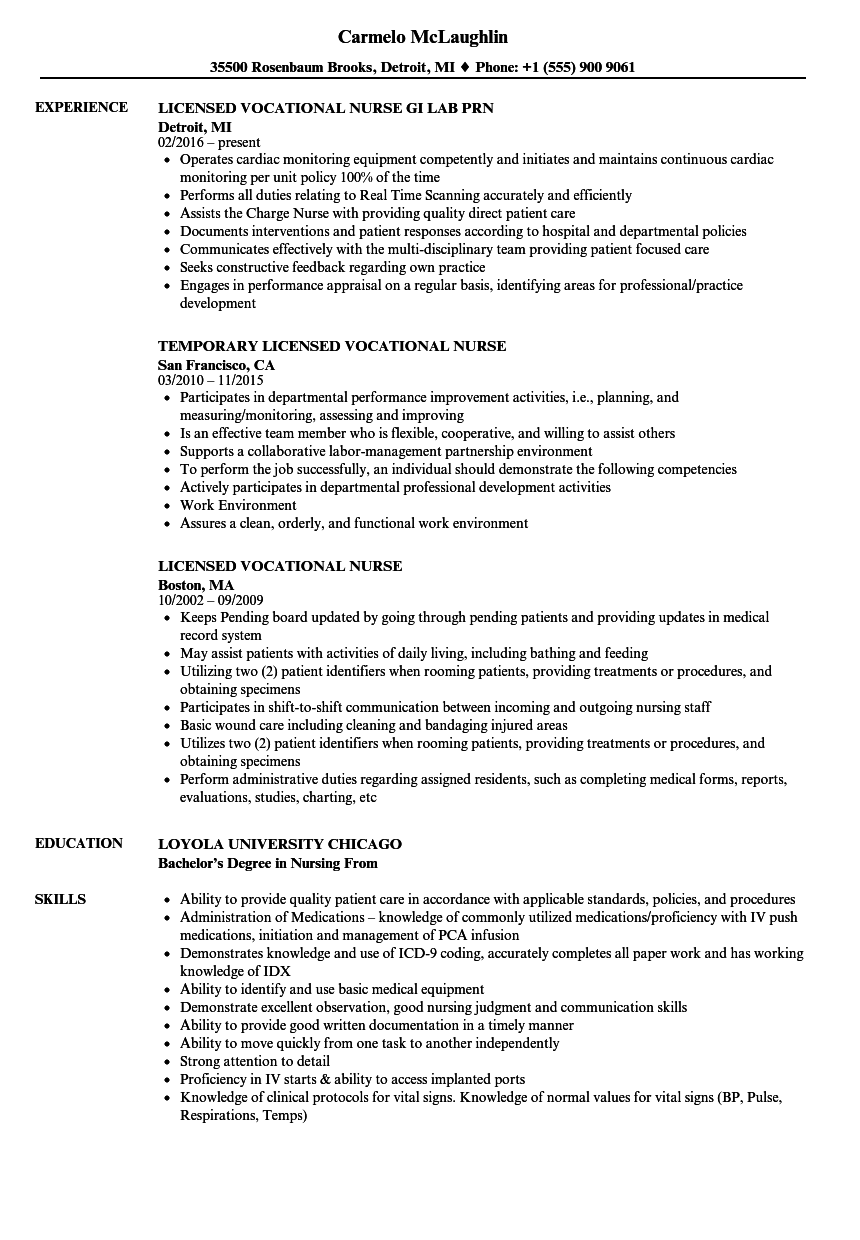Licensed Vocational Nurse Resume Samples Velvet Jobs