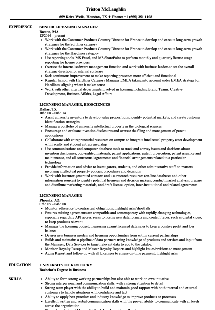 2 Years' Experience With Contract Negotiation. Download Licensing  Manager Resume Sample As Image File