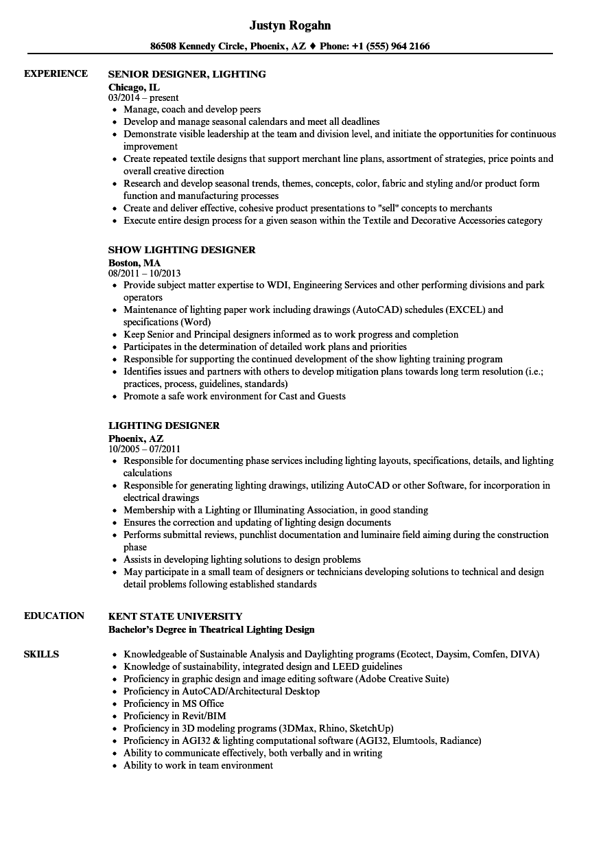 Lighting Designer Resume Samples Velvet Jobs