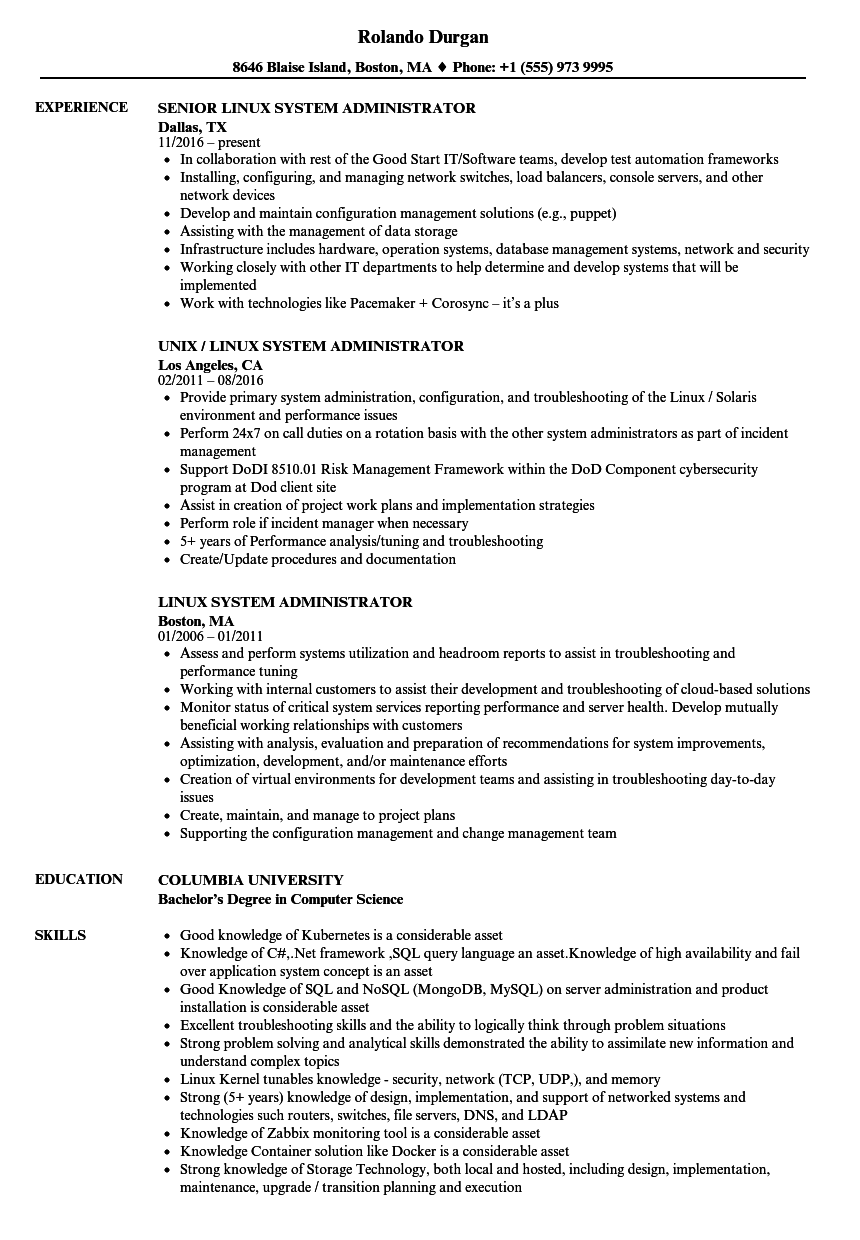 sample resume for experienced linux system administrator