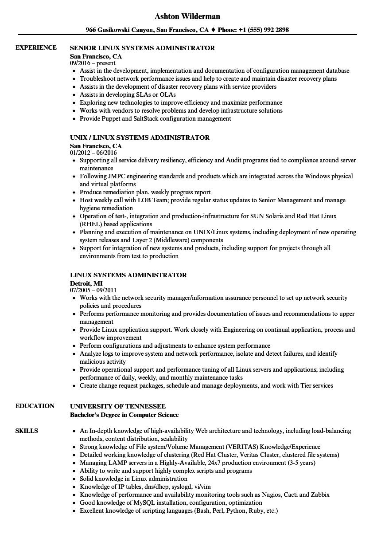 Linux Systems Administrator Resume Samples  Velvet Jobs