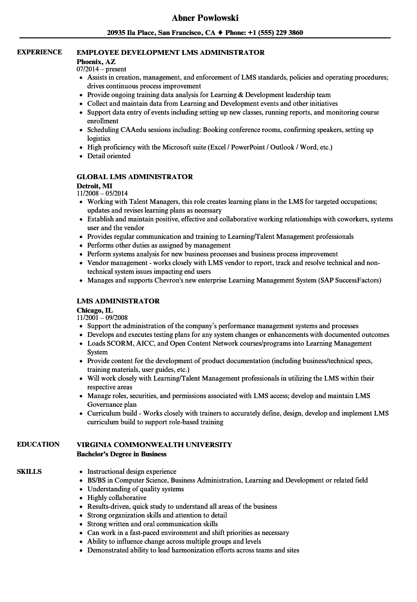 LMS Administrator Resume Samples Velvet Jobs