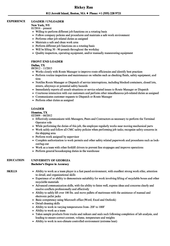 Loader Resume Samples  Velvet Jobs