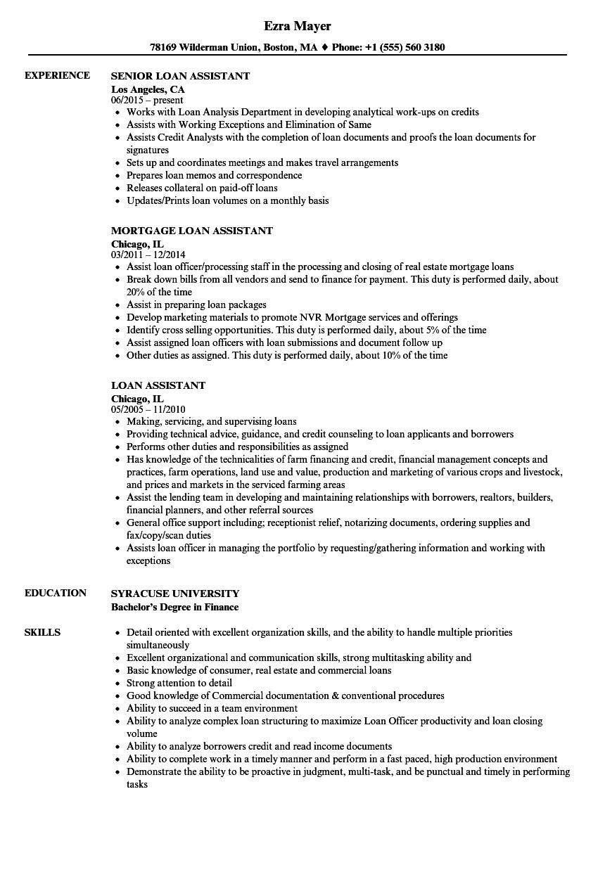 sample loan specialist officer resume