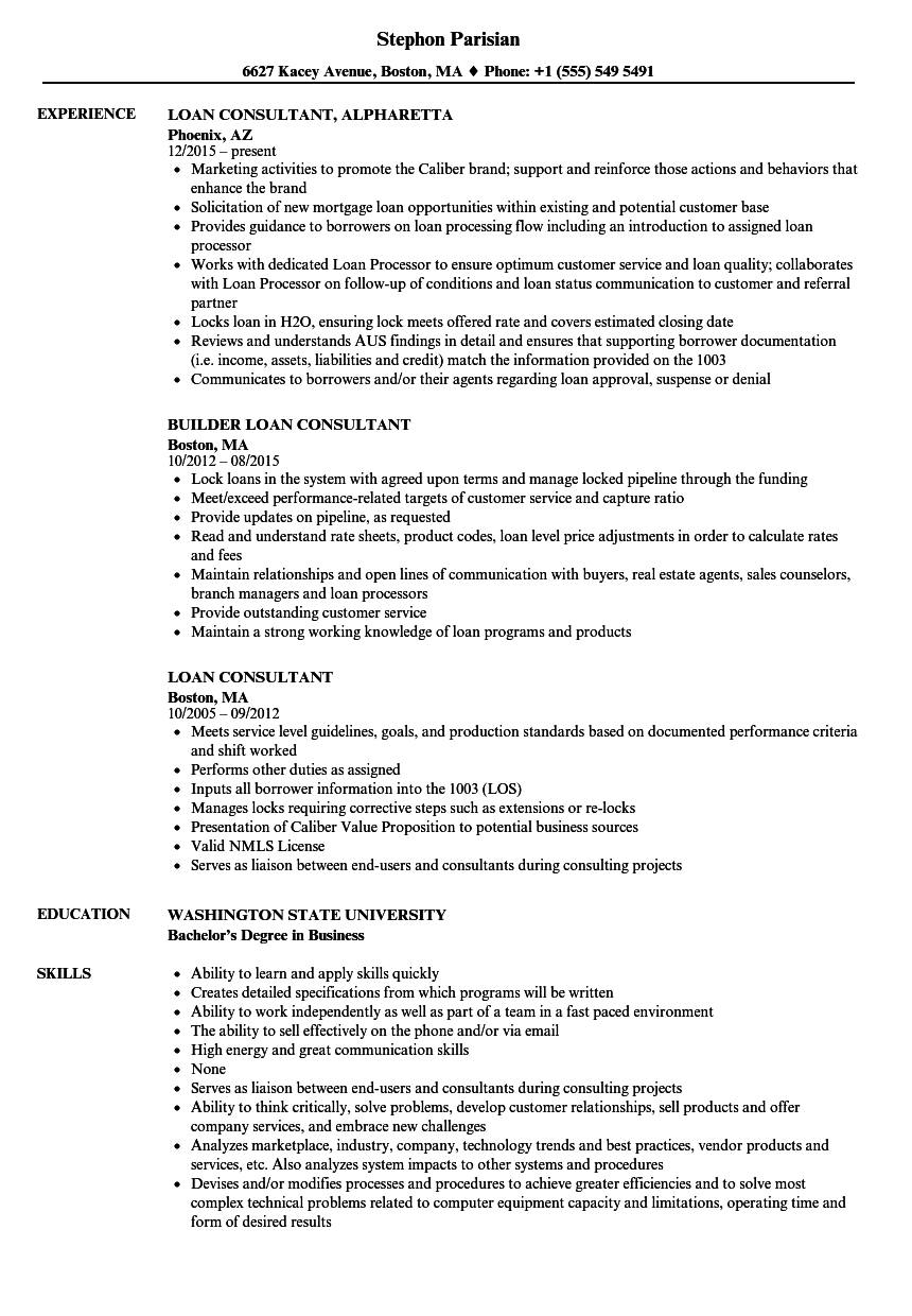 Download Loan Consultant Resume Sample As Image File