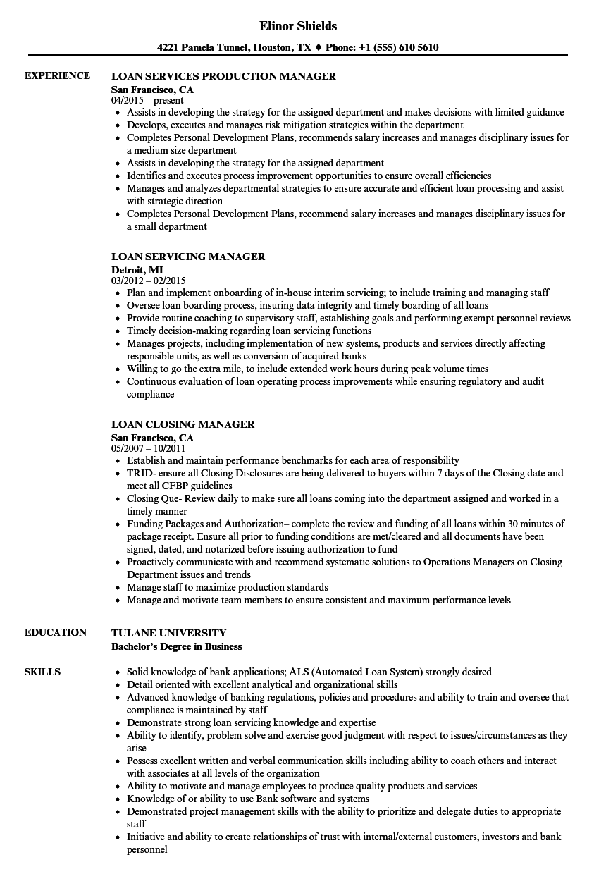 sample of a mortgage closer resume