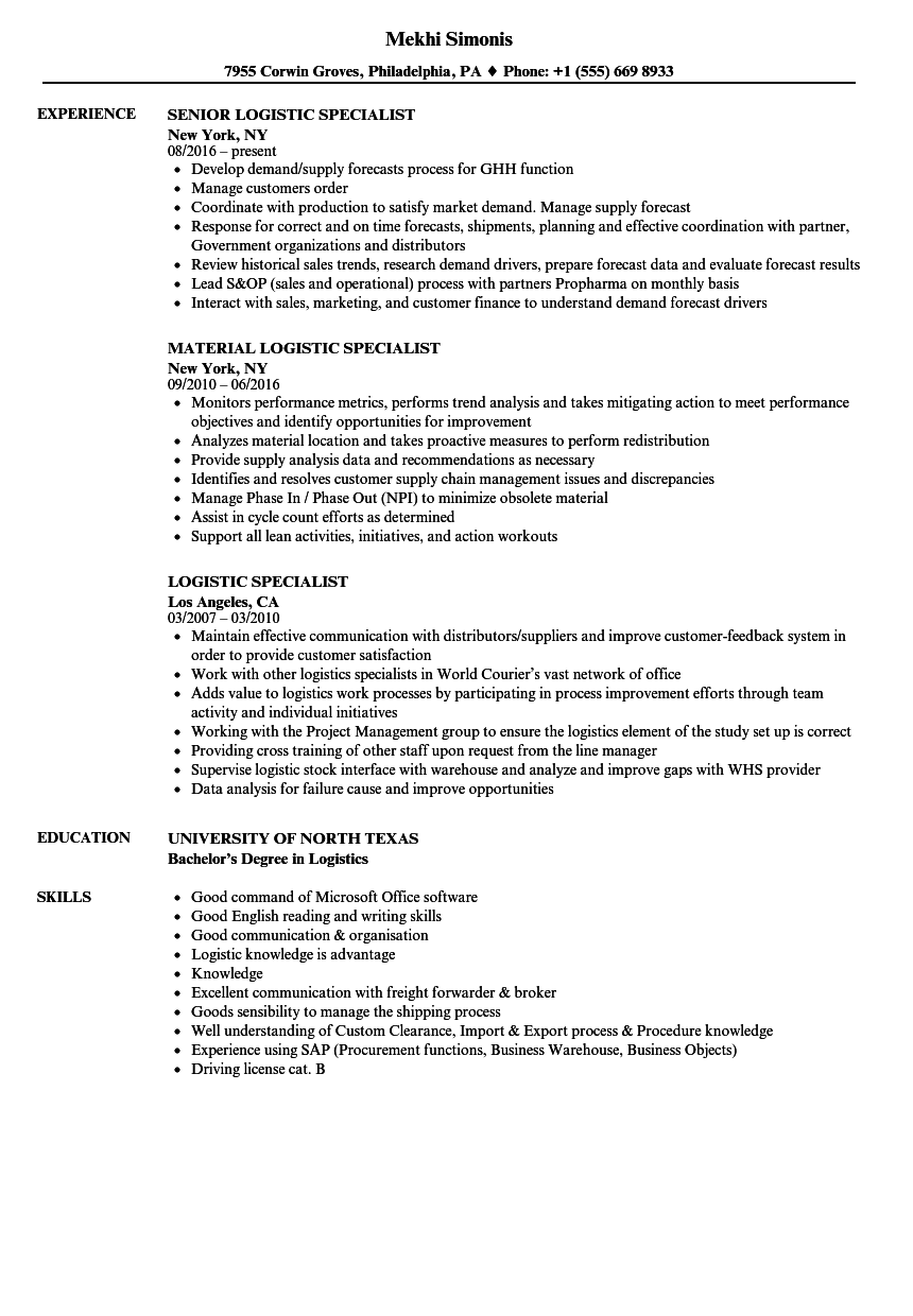 Logistic Specialist Resume Samples Velvet Jobs