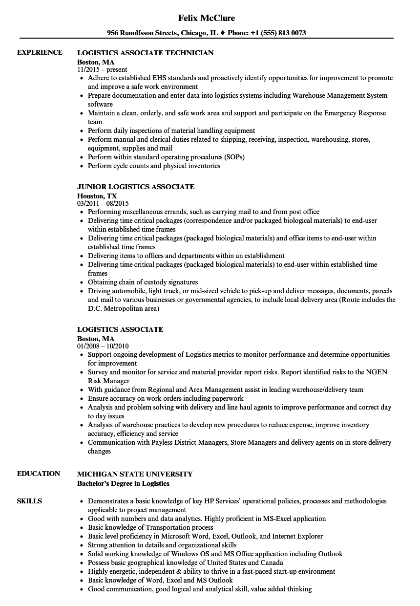 Logistics Associate Resume Samples Velvet Jobs