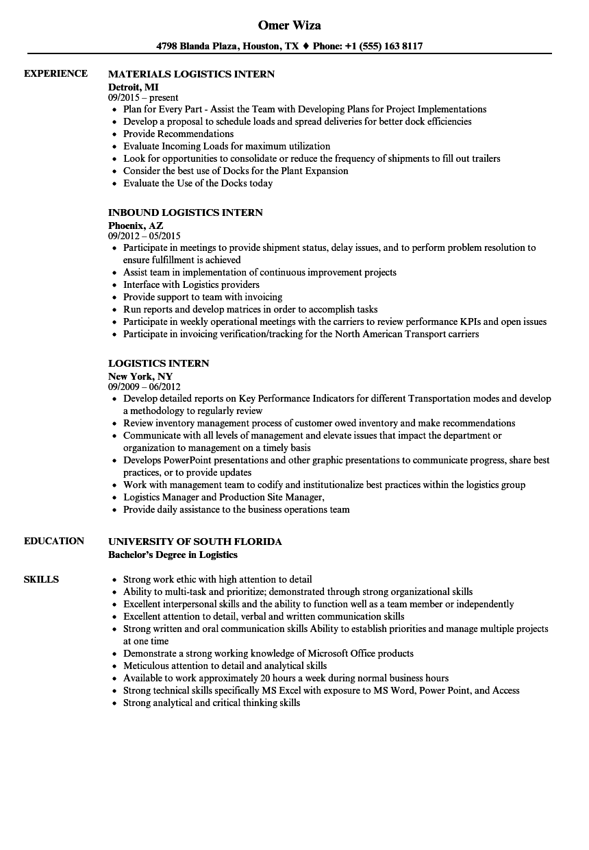 Logistics Intern Resume Samples | Velvet Jobs