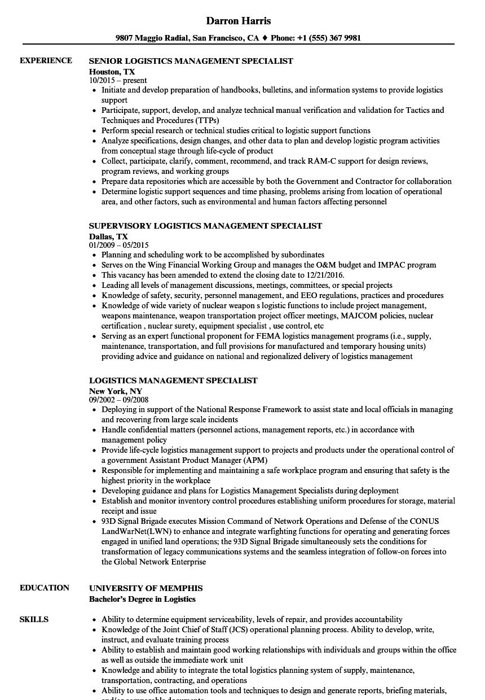 logistics management specialist resume examples