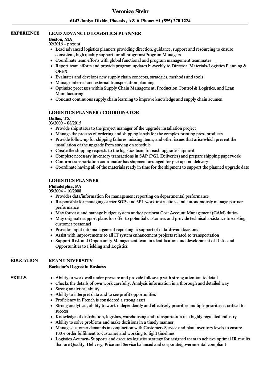 Logistics Planner Resume Samples  Velvet Jobs