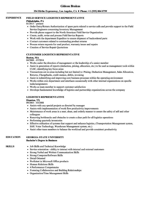 logistics sales resume sample