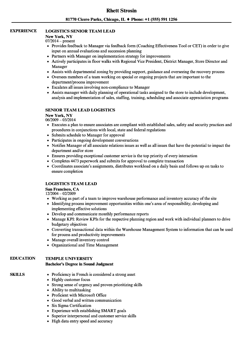 Logistics Team Lead Resume Samples Velvet Jobs