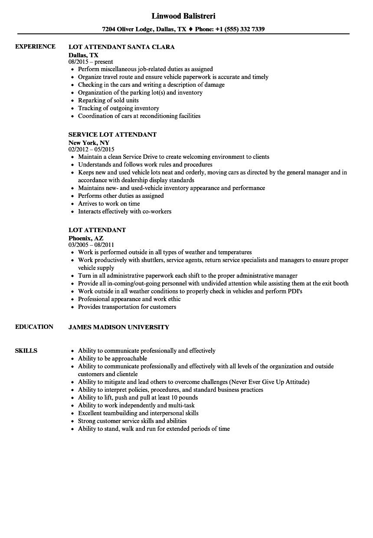 Lot Attendant Resume Samples  Velvet Jobs