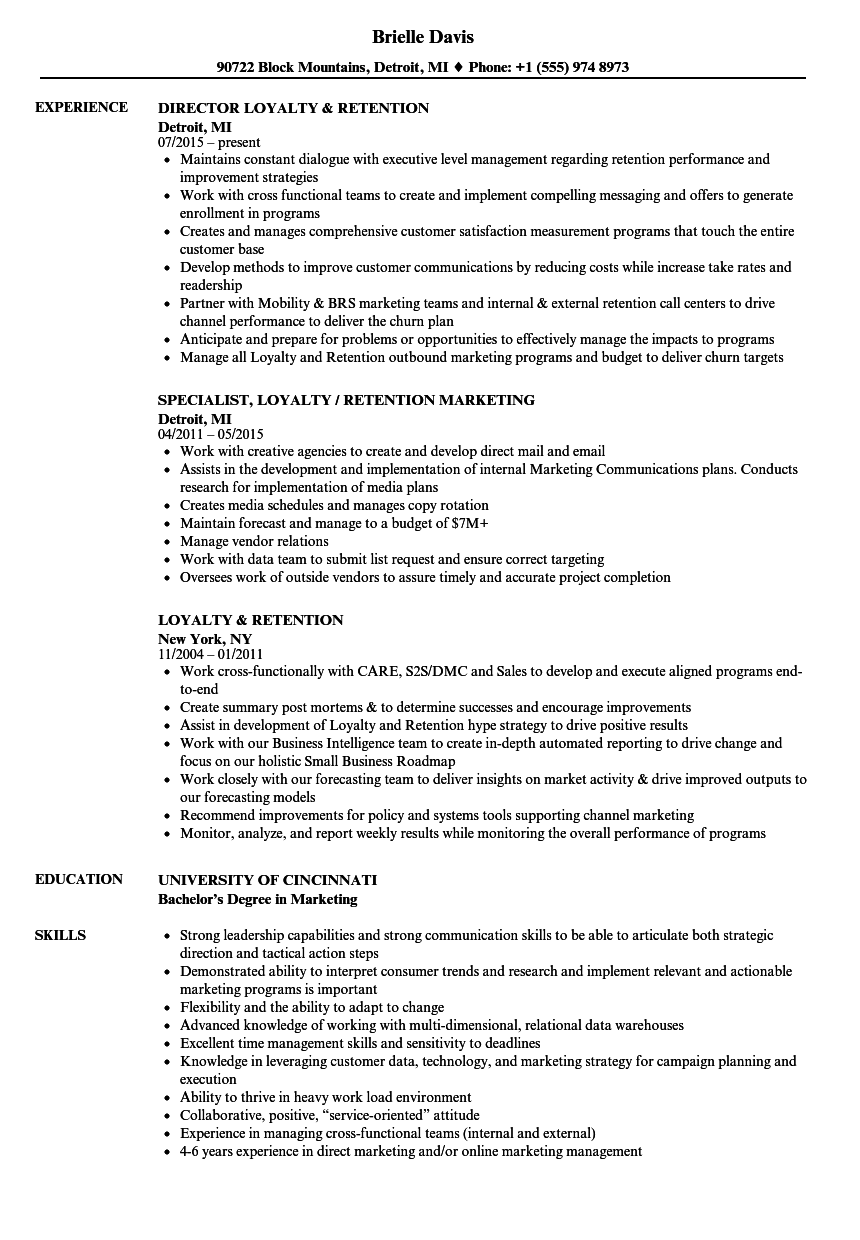 Loyalty & Retention Resume Samples Velvet Jobs