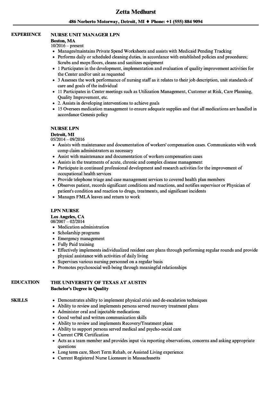 LPN Nurse Resume Samples  Velvet Jobs