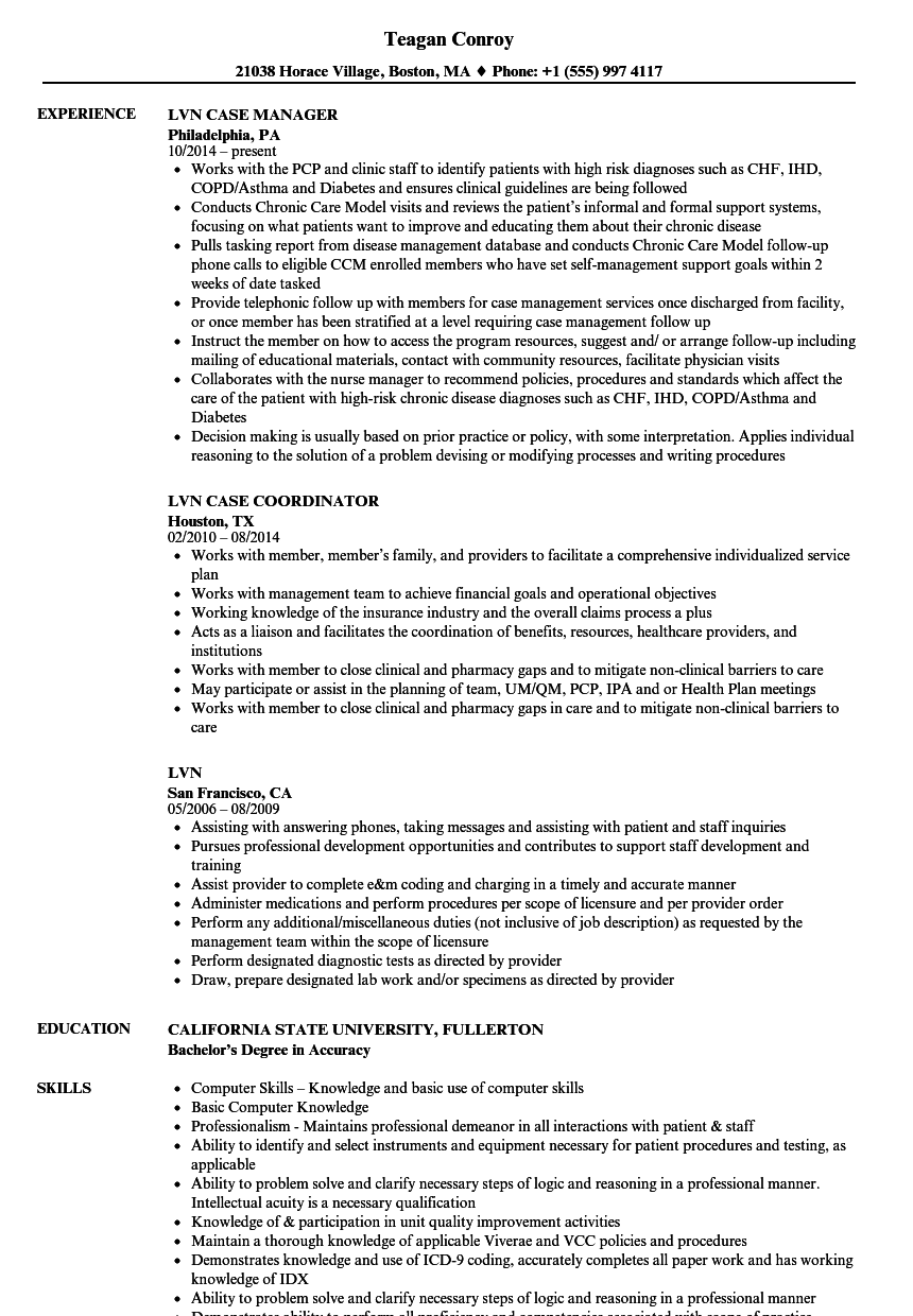sample lpn resume clinical experience