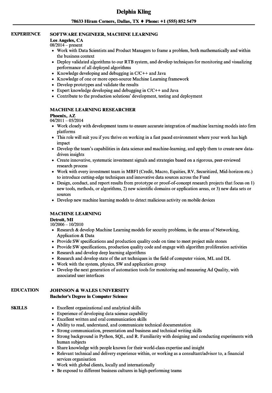 Download Senior Machine Learning Engineer Resume Sample As